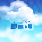 3d Cloud Computing diagram icon on blue sky. Background as concept Stock Images