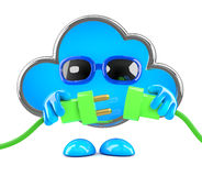 3d Cloud connects the green energy leads. 3d render of a cloud character holding two green plugs Stock Photography
