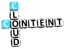 3D Cloud Content Crossword Stock Photo