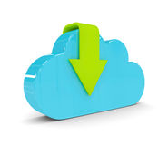 3d cloud with download arrow isolated over white. Backgorund Royalty Free Stock Photography