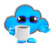 3d Cloud drinking a cup of coffee Stock Photo