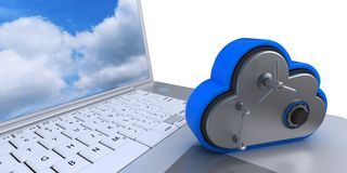 3D Cloud Drive Icon on computer. 3D Render of Cloud Drive Icon on computer Stock Photo