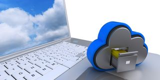 3D Cloud Drive Icon on computer. 3D Render of Cloud Drive Icon on cimputer Stock Photos