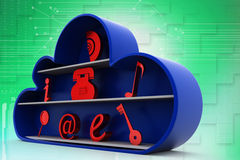3d cloud and essential icons Illustration Royalty Free Stock Photo