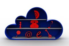 3d cloud and essential icons Royalty Free Stock Photo