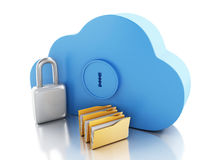 3d Cloud with file storage and padlock. 3d renderer image. Cloud with file storage and padlock. Cloud storage concept.  white background Royalty Free Stock Photo