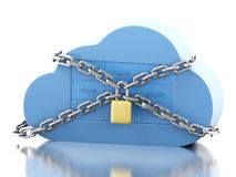 3d Cloud with file storage and padlock. 3d renderer image. Cloud with file storage and padlock. Cloud storage and security concept. Isolated white background Royalty Free Stock Image