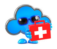 3d Cloud first aid. 3d render of a cloud holding a first aid kit Stock Images