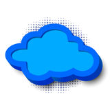 3d cloud frame. With border and halftone dots Stock Photo