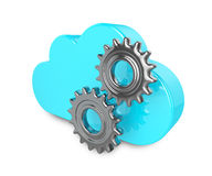 3d cloud with gears isolated on white background Stock Image