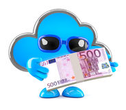 3d Cloud has lots of Euro bank notes Royalty Free Stock Photo