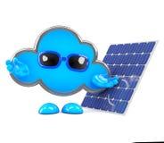 3d Cloud has a solar panel Stock Images