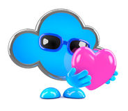 3d Cloud hugs a heart Stock Photo