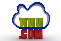 3D cloud internet service icon  with www and .com text Royalty Free Stock Photography