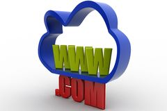 3D cloud internet service icon  with www and .com text Stock Photography