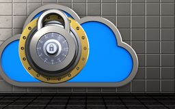 3d cloud lock. 3d illustration of cloud with lock over steel wall background Stock Photo