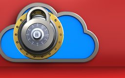3d cloud lock. 3d illustration of cloud with lock over red background Stock Photography