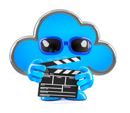 3d Cloud movies. 3d render of a cloud holding a clapperboard Royalty Free Stock Images
