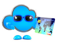 3d Cloud pays with a credit card Royalty Free Stock Photos