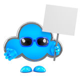 3d Cloud with placard Royalty Free Stock Image