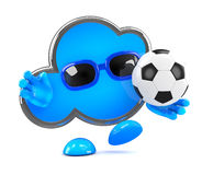 3d Cloud plays football Royalty Free Stock Image