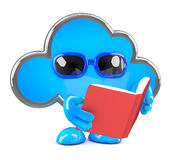 3d Cloud reads a book Royalty Free Stock Images