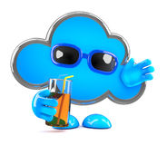 3d Cloud relaxes with a cold drink Royalty Free Stock Photos