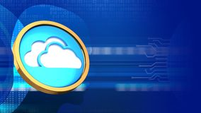 3d cloud symbol. Abstract 3d digital background with cloud symbol and head silhouette Royalty Free Stock Photo