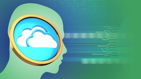 3d cloud symbol. Abstract 3d gree background with cloud symbol and head silhouette Stock Photos