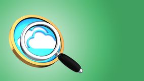 3d cloud symbol. Abstract 3d gree background with cloud symbol and magnify glass Stock Image