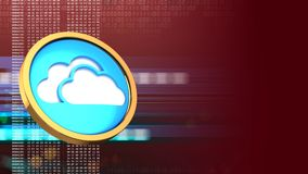 3d cloud symbol. Abstract 3d red background with cloud symbol and Royalty Free Stock Photos
