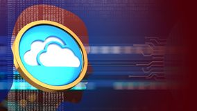 3d cloud symbol. Abstract 3d red background with cloud symbol and head silhouette Stock Image