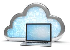 3d cloud symbol and laptop Royalty Free Stock Image