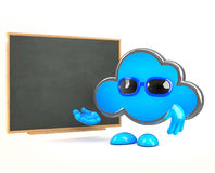 3d Cloud teaches at the blackboard Royalty Free Stock Photo