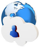 3d cloud with user icon and earth globe Royalty Free Stock Photos