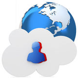 3d cloud with user icon and earth globe Royalty Free Stock Photography