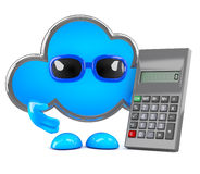 3d Cloud using a calculator Royalty Free Stock Image
