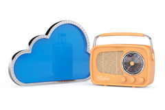 3d Cloud with Vintage Radio. On a white background Royalty Free Stock Photography