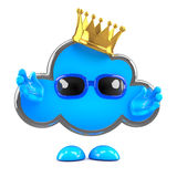 3d Cloud wearing a gold crown Stock Images