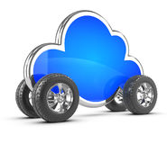 3d Cloud with wheels Stock Photography