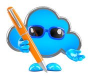 3d Cloud writes with a pen Royalty Free Stock Photos