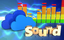 3d clouds clouds. 3d illustration of clouds over sound waves blue background with 'sound' sign Stock Image