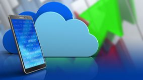 3d of clouds. 3d illustration of clouds over arrows graph background with mobile phone Stock Photography