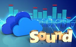3d clouds spectrum. 3d illustration of clouds over sound wave blue background with 'sound' sign Stock Photo