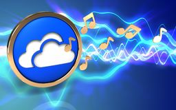 3d clouds symbol clouds symbol. 3d illustration of clouds symbol over sound waves blue background with notes Royalty Free Stock Photography