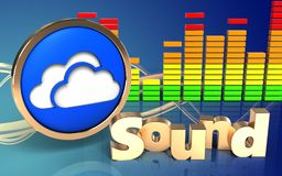3d clouds symbol clouds symbol. 3d illustration of clouds symbol over wave blue background with 'sound' sign Stock Photos
