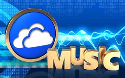 3d clouds symbol music sign. 3d illustration of clouds symbol over cyber background with music sign Royalty Free Stock Photo