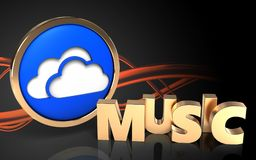 3d clouds symbol music sign Stock Images