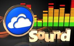 3d clouds symbol 'sound' sign Stock Photos