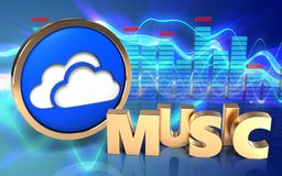 3d clouds symbol spectrum. 3d illustration of clouds symbol over sound waves blue background with music sign Stock Photos